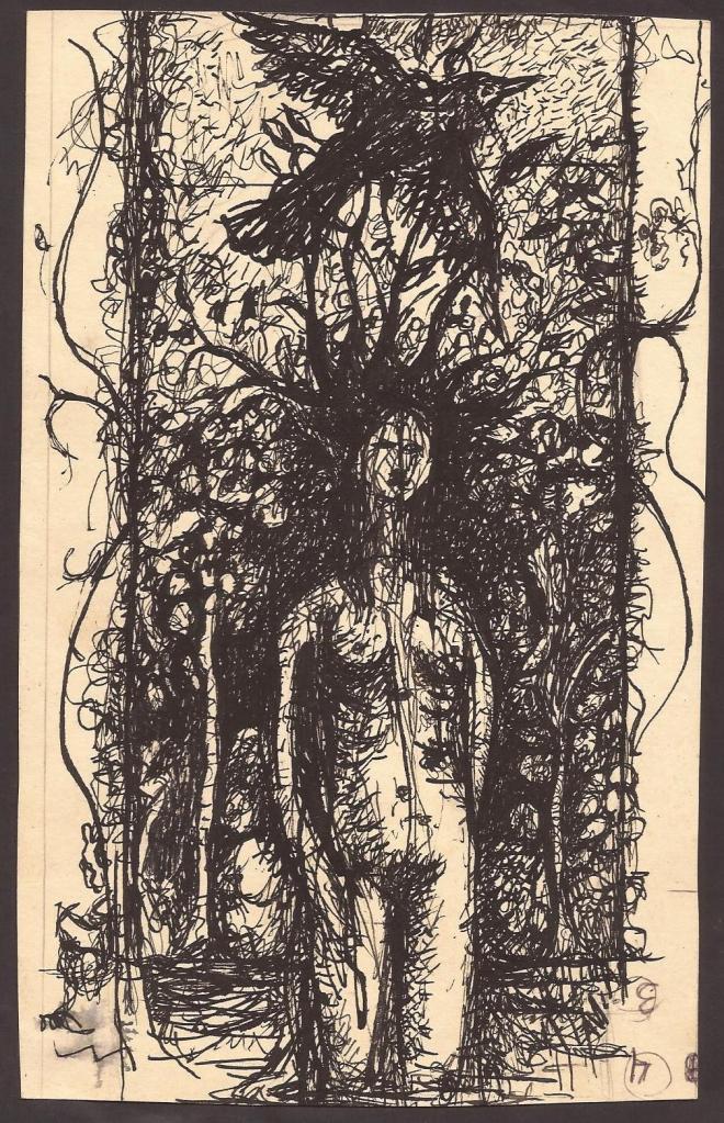 """Título de la obra:  """"Broten... Broten..."""" (Tinta china sobre papel)  Artista: Fernando Cabral"""